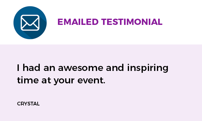 emailed testimonial from one of our clients who attended Camp CREATIVE