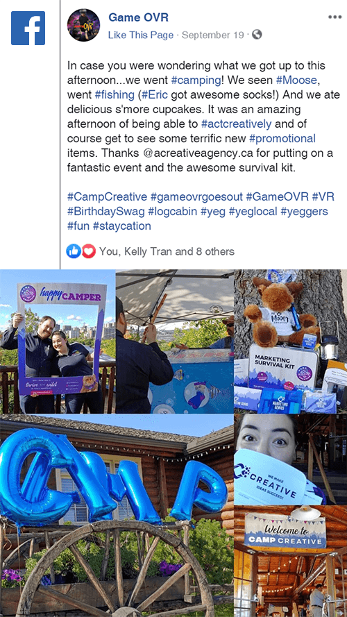 client's post on Facebook from Camp CREATIVE, 2019 Open House