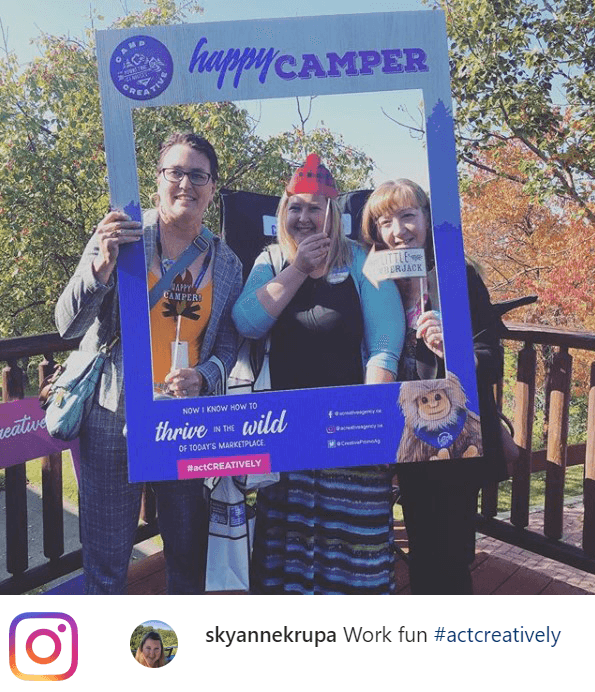 social media post with clients at our 2019 open house, Camp CREATIVE