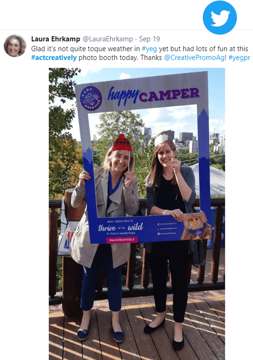 Twitter post from our clients at Camp CREATIVE open house
