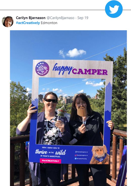 clients having fun and posting on Twitter at our recent Open House - Camp CREATIVE