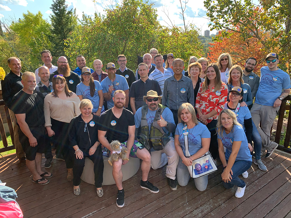 CREATIVE staff and top vendors group shot at the 2019 Camp CREATIVE Open House event