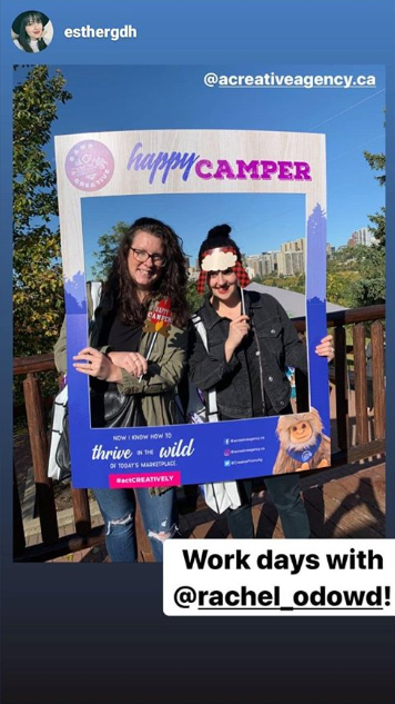 clients posting Instagram stories at our recent event, Camp CREATIVE