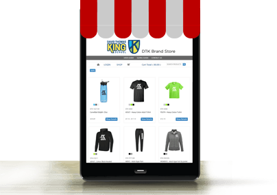 online pop-up store displayed on a tablet
