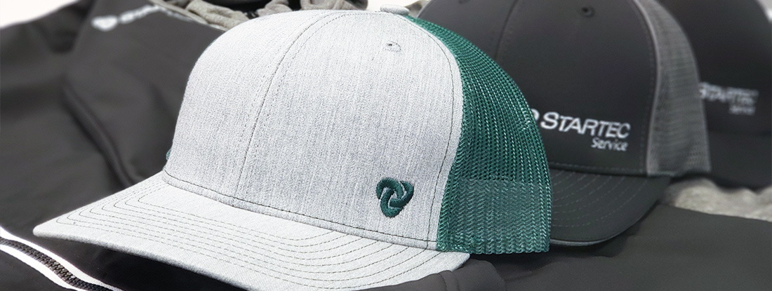 closeup of the embroidered hat