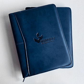 Branded padfolios with a debossed logo