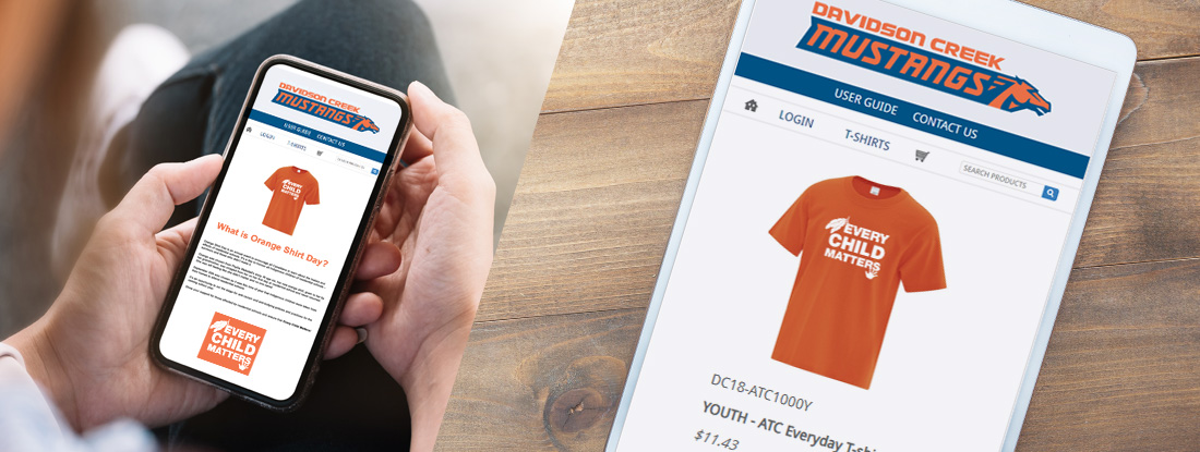 displays of the Orange T Shirt online Pop Up store