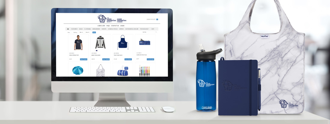 Good Samaritan online company store displayed with promotional products