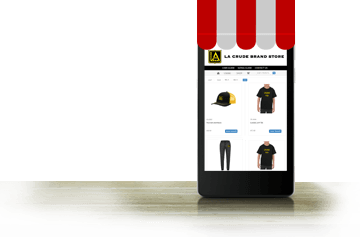 online pop-up store displayed on the phone screen