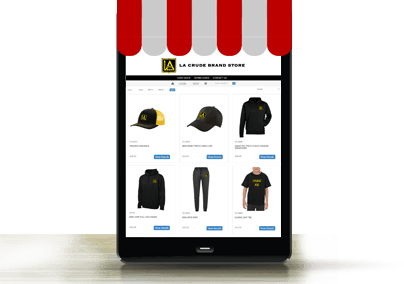 pop up store example on a tablet screen