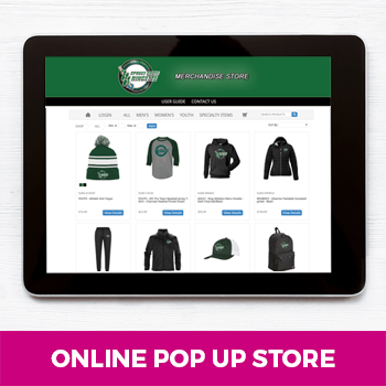 online pop up store displayed on a tablet