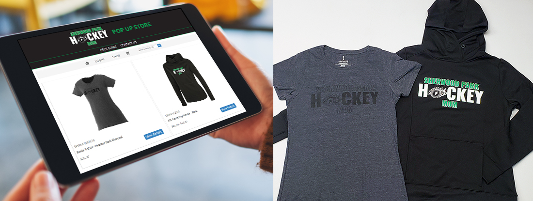 online pop-up store for SPMHA displayed on the tablet with imprinted hoodie and t-shirt