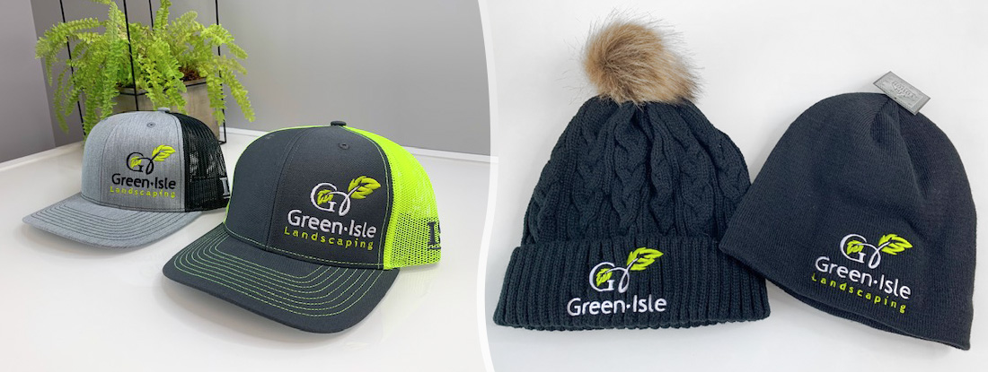 embroidered hats and toques for a lanscaping company with a new logo