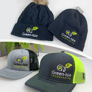 branded hats and toques for a landscaping company with a new logo