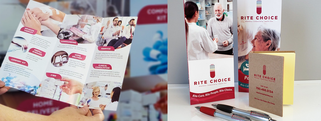 marketing brochure and promotional products for a pharmacy conference giveaways