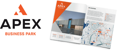 Apex logo and marketing material