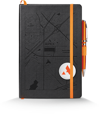 mockup of the Apex debossed cover journal