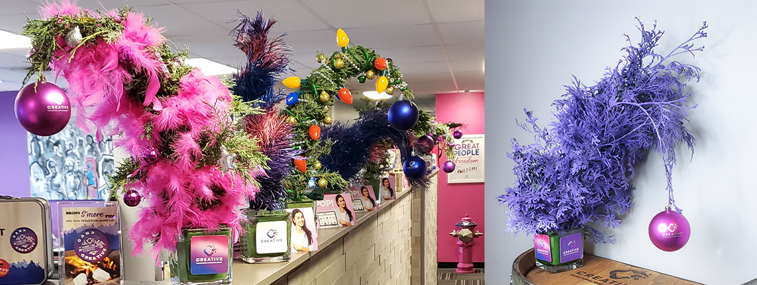 whoville trees displayed in a modern office