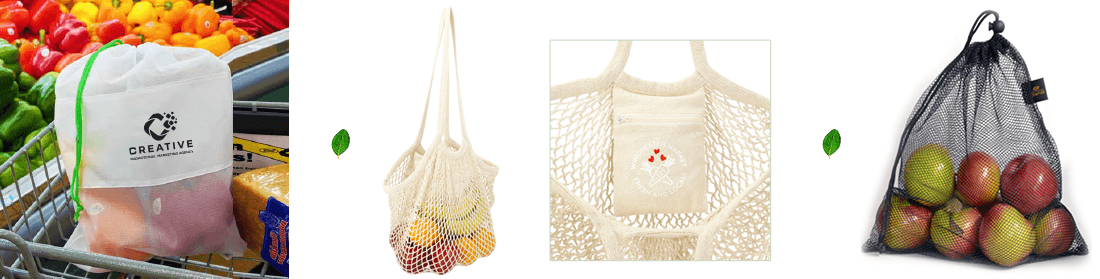 reusable logoed produce bags