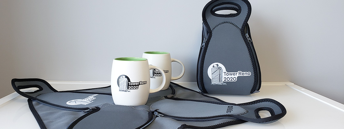logoed lunch bags and mugs created for employee appreciation