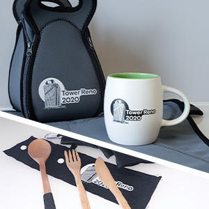 branded ceramic mug, lunch bag and utensil set as staff appreciated gifts