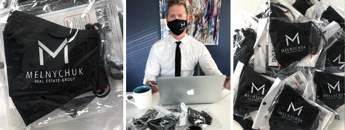 logoed PPE masks and the real estate agent wearing a mask