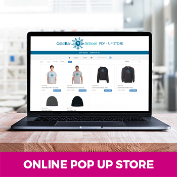 School online pop up store with branded apparel