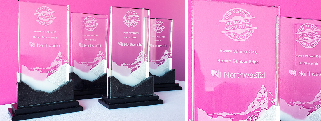 custom made logoed awards that represent company core values