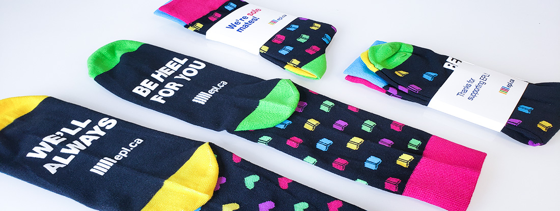 custom socks with fun messaging and a custom belly band