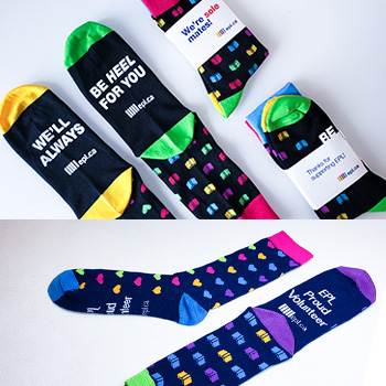 custom woven socks with a branded belly band
