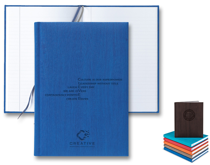 branded journal debossed with a company logo and core values