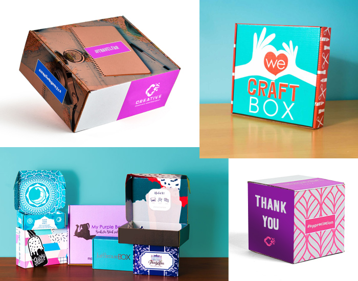 custom packaging and boxes with client logos in different sizes