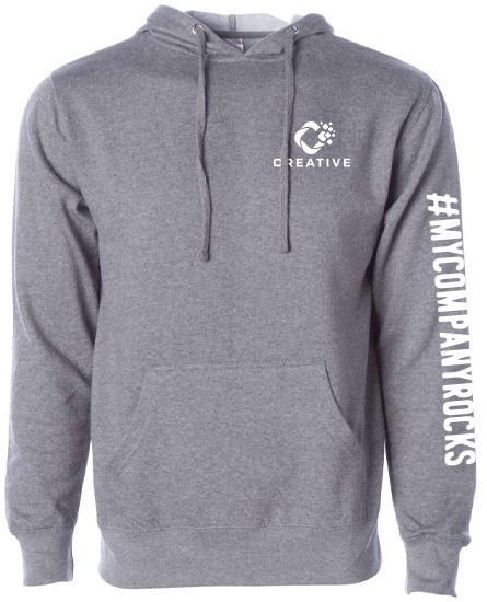 branded hoodie with logo on the left chest and a sleeve imprint