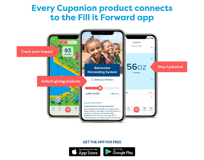 preview of the app that will come with the branded Cupanion bottle