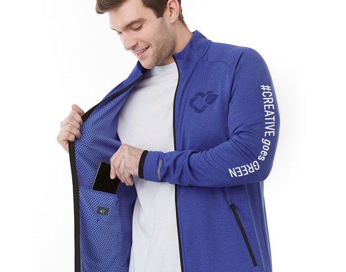 branded jacket with logo on left chest and branding on the sleeve