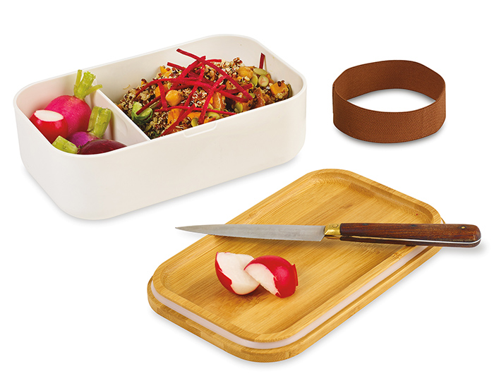 eco-friendly lunch box with company logo