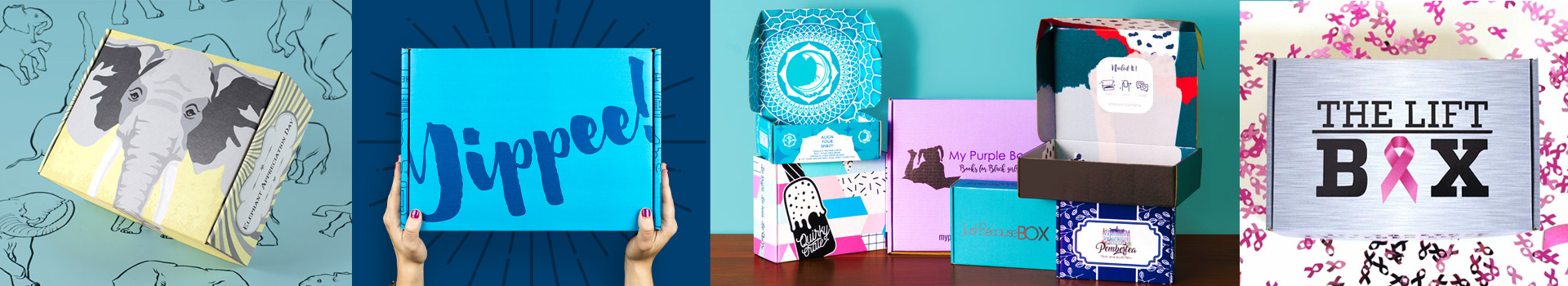 examples of many branded custom swag boxes