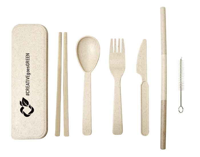 logoed wheat straw utensils