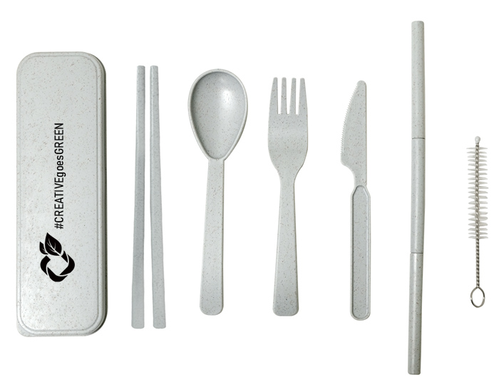 branded utensil set made from sustainable material - wheat straw