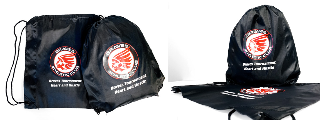 branded cinch bags created as a hockey tournament gift