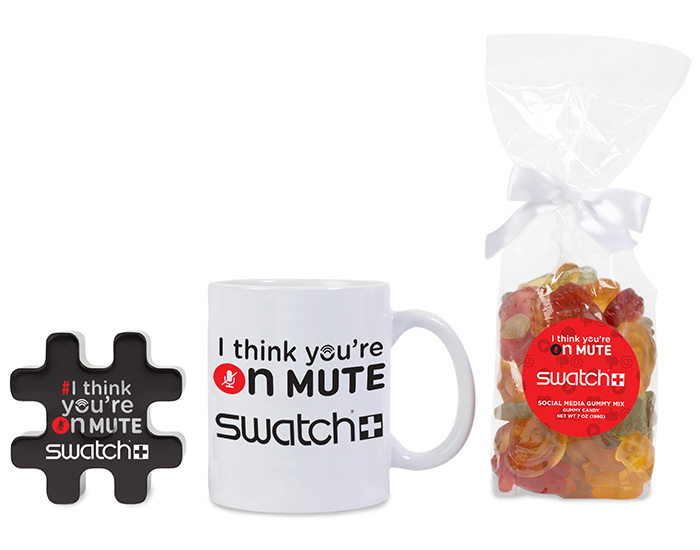 fun, branded kit that includes logoed mug, gummies and mints