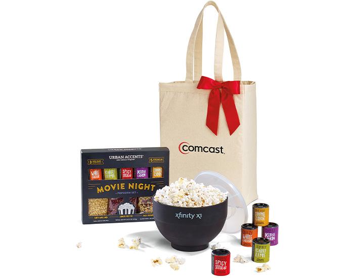 movie night, branded popcorn kit