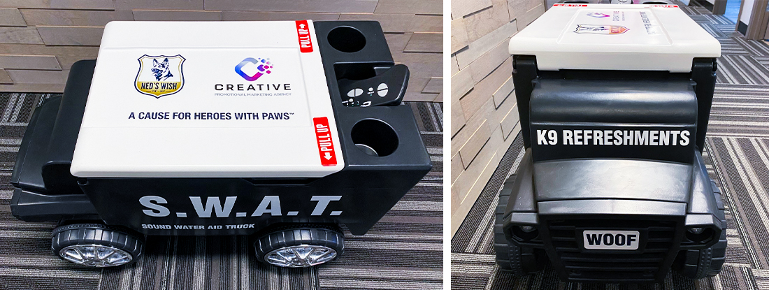 remote controlled cooler for silent auction fundraiser