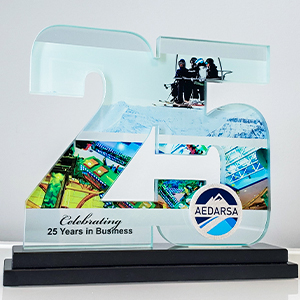 25th anniversary glass awards